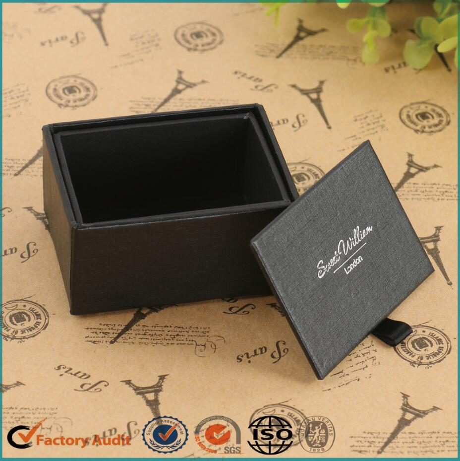 Black Silver Foil Stamping Cufflink Packaging Box