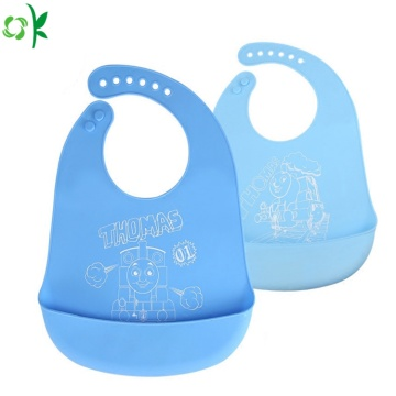 Food Grade Cartoon Silicone Baby Bib for Traveling