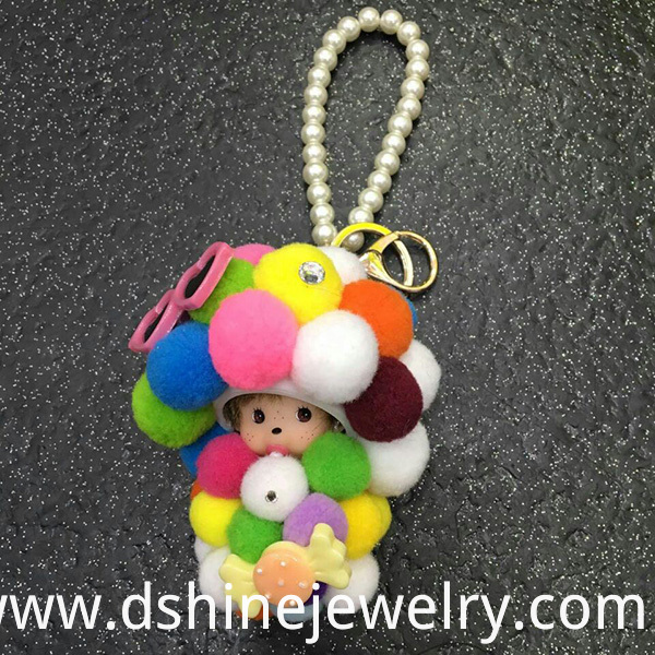 Monchichi Customized DIY Rainbow Ball Keyring