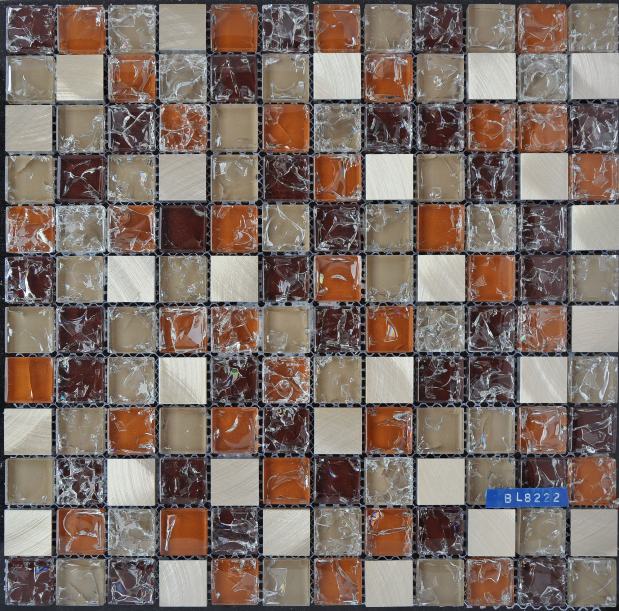 Competitive Price Blue Cracked Crystal Glass Mosaic