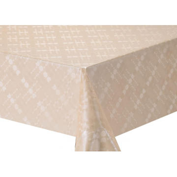 Solid Embossed Fabric Tablecloth Covers Vinyl