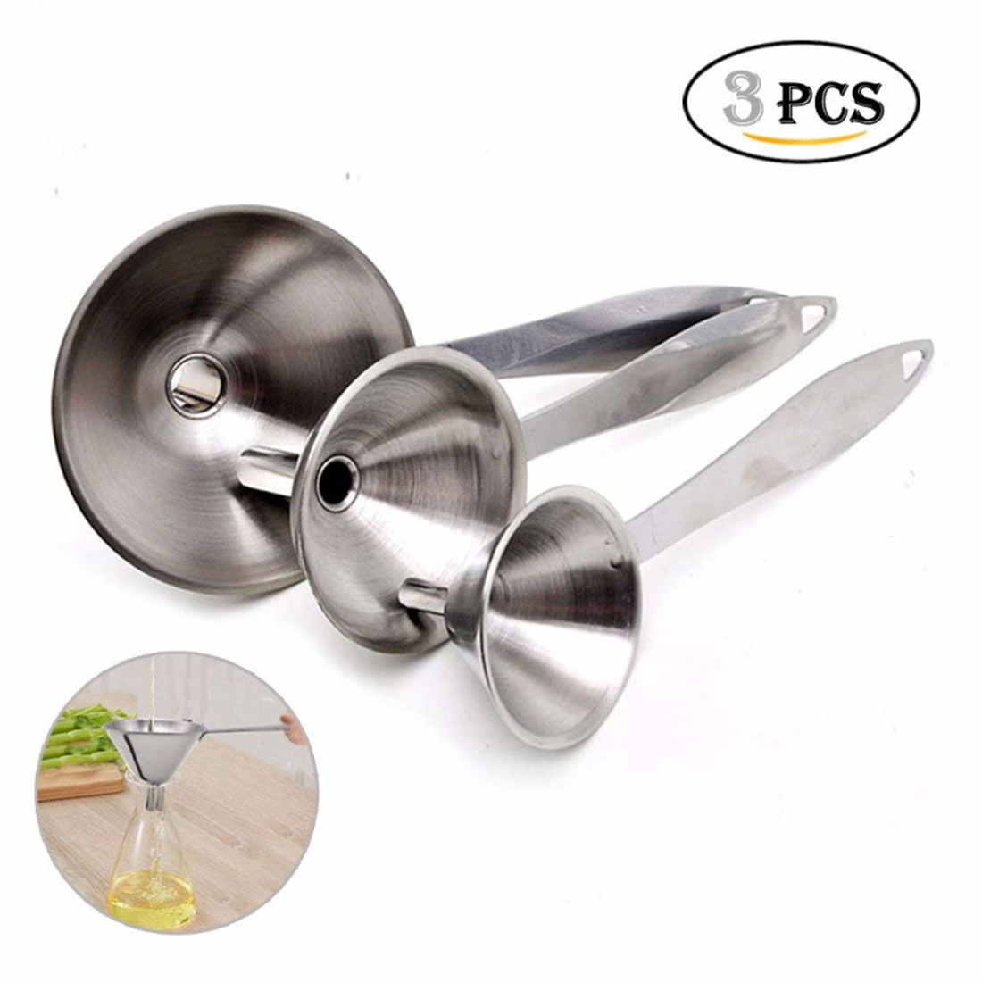 Set Of 3 Stainless Steel Long Handle Funnel