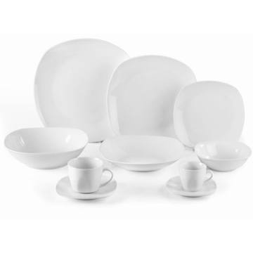 Porcelain Rounded square White Dinner Set