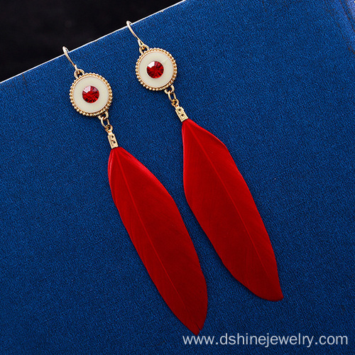 Handmade Bridal Feather Earrings With Alloy Charm Earrings