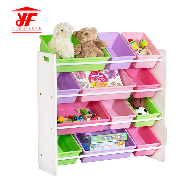 children storage with bins