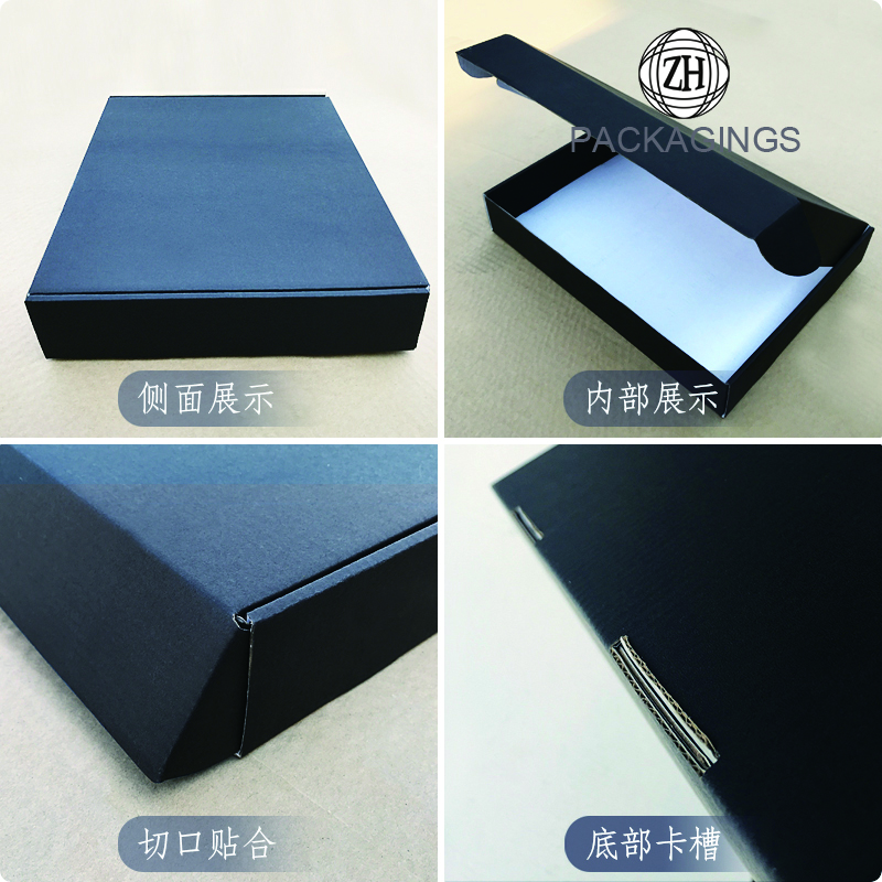 Matte black empty shipping box