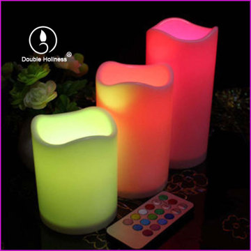 Colorful Flameless Changing Wave LED Pillar Candles