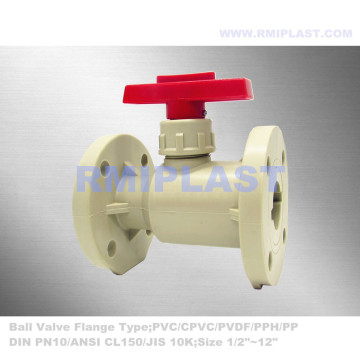Manual Handle PP Flanged Ball Valve PN10