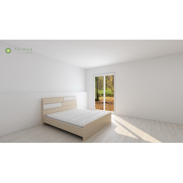 Bed with Rectangular Oak and White Block Combination