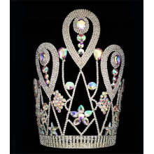 Holiday sales for Rhinestone Pageant Crowns 12 Inch AB Stone Crown For New Year export to Romania Factory