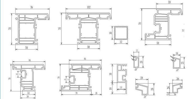 70mm casement pvc profiles