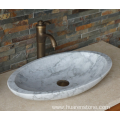 Guangxi oval white marble sink