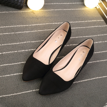 2019 Women Suede Leather Middle Heel Shoes