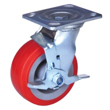 China for Brake Heavy Duty Wheel Caster 5'' industrial brake caster pu wheels export to Malaysia Supplier