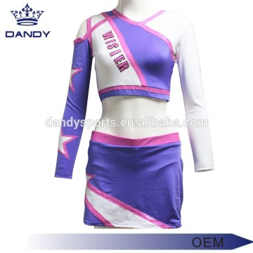 Unique Design Asymmetrical Neckline Cheer Uniform For Youth