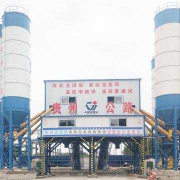 HZS90 stationary lifting hopper concrete mixing plant
