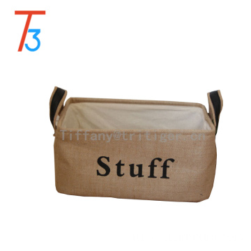 Foldable fabric basket printed cotton jute storage box fabric Storage Basket