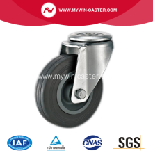 5'' Hollow Rivet Swivel Gray Rubber PP Core Industrial Caster