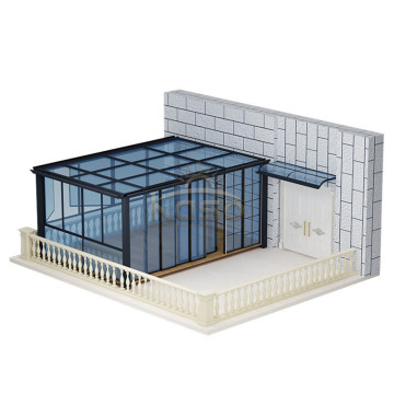 Sun RoomHouse Tempered Glass Frame Curved Aluminum Sunroom