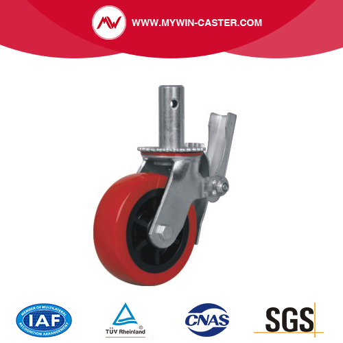 "Red Wheels with Locking Brakes 4 pcs Scaffold Caster 5/"" 6/"" 8/"" Black"