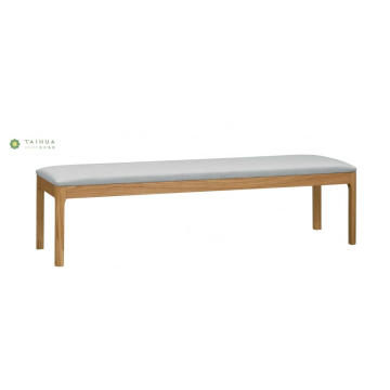 Long Solid Wood Bed Bench Light Walnut