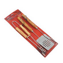 3pcs metal BBQ set with bamboo handle