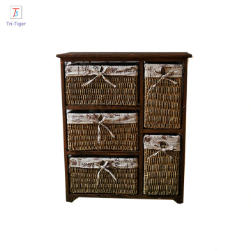 Factory living room furniture set wickerwork basket corner wooden cabinet