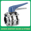 Sanitary Stainless Steel 3 piece Weld Butterfly Valve
