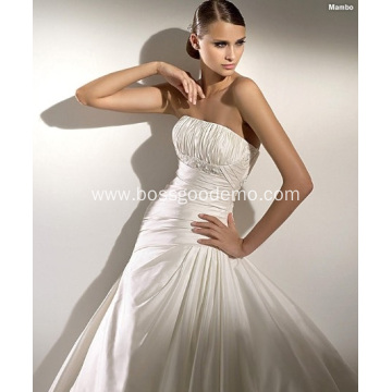 Empire A-line Strapless Cathedral Train Taffeta Beading Draped Wedding Dress
