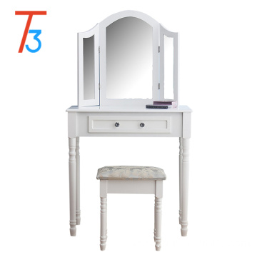 white paulownia bedroom dressing table and mirror