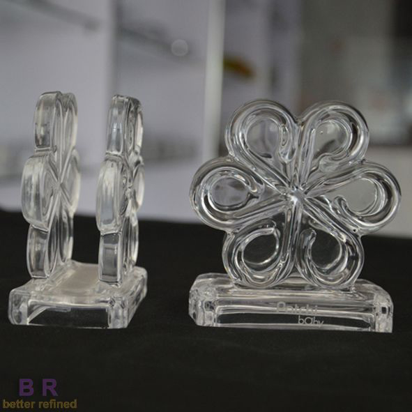 Flower Shape Clear Glass Napkin Holder