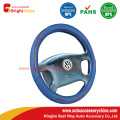 Blue And Wood Grain Steering Wheel Cover
