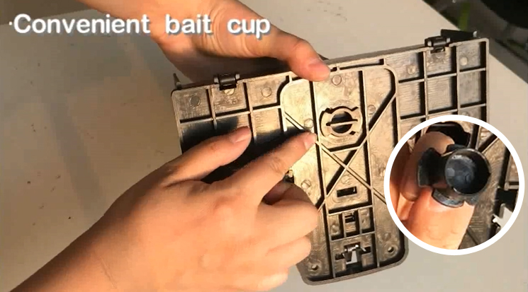 underneath bait cup