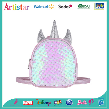 pink and sliver unicorn sequin backpack