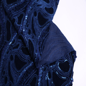 Hot Selling Winter Spangle Velvet Embroidery Fabric