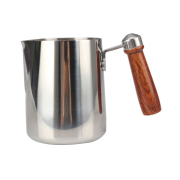 Stainless Steel Milk Frothing Pitcher With Wooden Handle