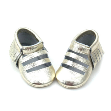 Sliver Leather Tassel Baby Sandals Unisex Baby Moccasins