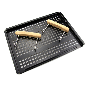 Wooden Handle Non-Stick Coating Grill Basket Stainless Steel