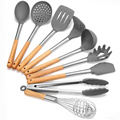 9PCS Silicone Bamboo Handle Utensils Set With Holder