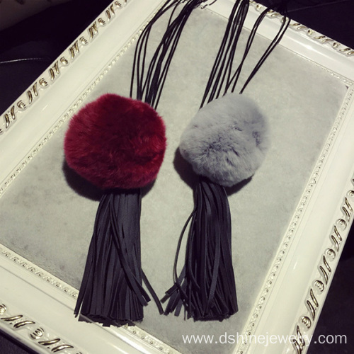Long Tassel Necklace Fur Ball Tassels Leather Choker Necklace