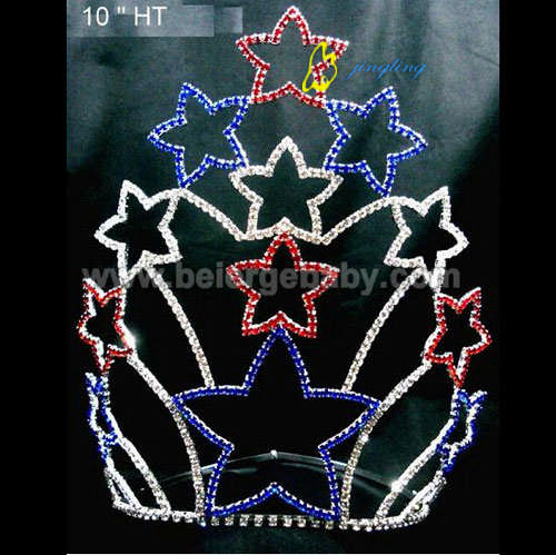 large cheap custom colored patriotic star crowns PC-12015
