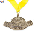 Custom metal sport medal with yellow ribbon