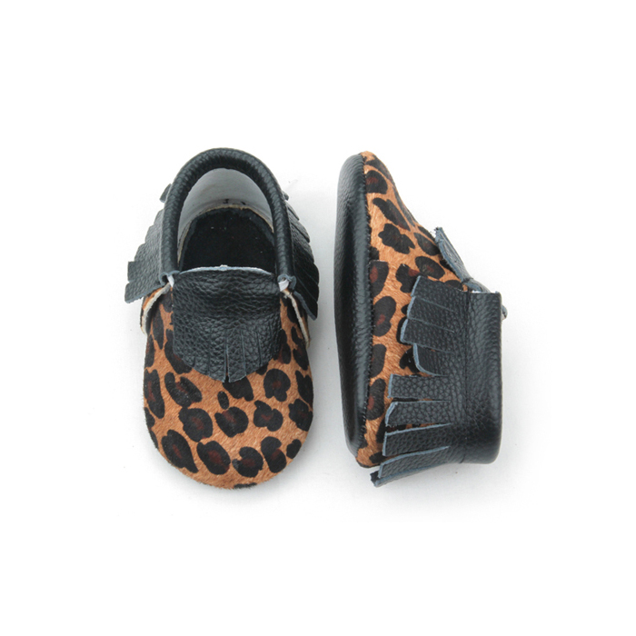 Leopard Genuine Leather Indoor Baby Moccasins