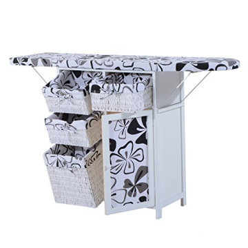 Chinese Factory Cheap Wooden Ironing Board Ironing Storage Cabinet With Wicker Drawers