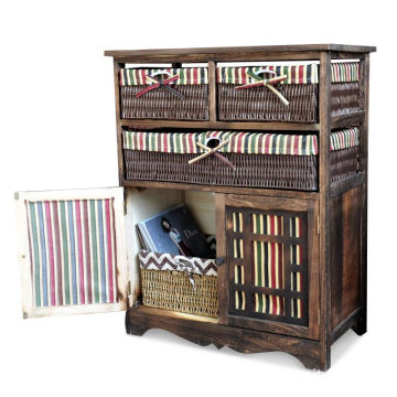 Home Wooden Frame Wicker basket Drawer Storage Unit Cabinet Cupboards Organizer