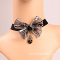 Bowknot Silver Lace Necklace With Heart Charm Velvet Choker