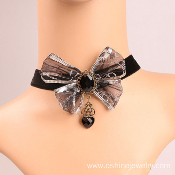 Goods high definition for Black Lace Necklace Bowknot Silver Lace Necklace With Heart Charm Velvet Choker export to North Korea Factory