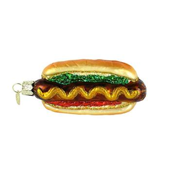 Personized Design Hot Dog Shaped Christmas Glass Ornament