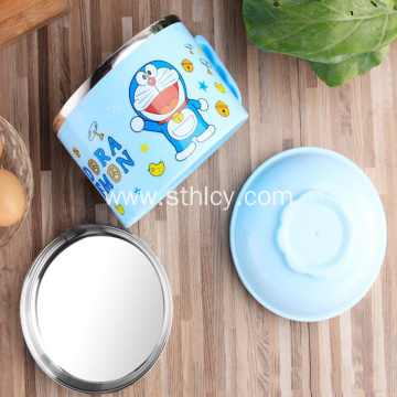 Stainless Steel Cartoon Student Bowl Lunch Box
