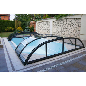 Aluminium Frame Retractable Glass Roof Cover Swimming Pool